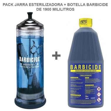 Pack jarra esterilizadora más botella barbicide de 1900 Ml.