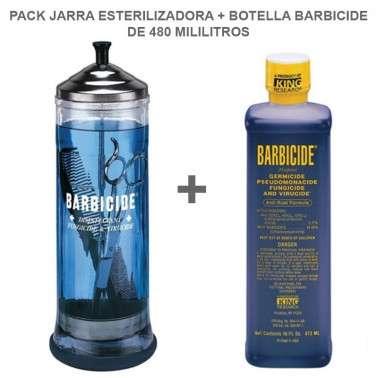 Pack jarra estereilzadora más botella barbicide de 480 Ml.